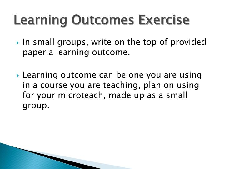Learning Outcomes Exercise