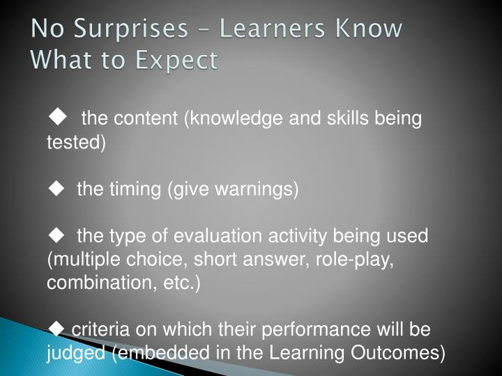 No Surprises – Learners Know What to Expect