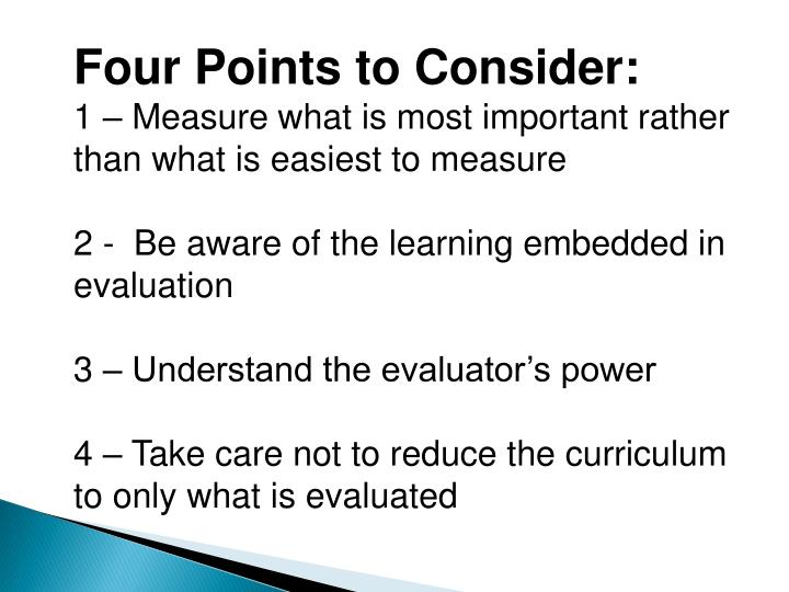 Four Points to Consider: