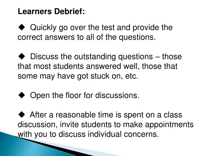 Learners Debrief: