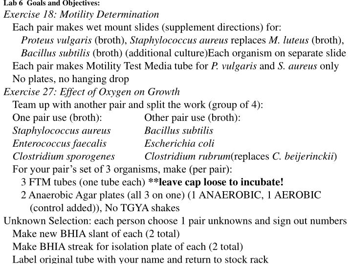 Lab 6  Goals and Objectives: