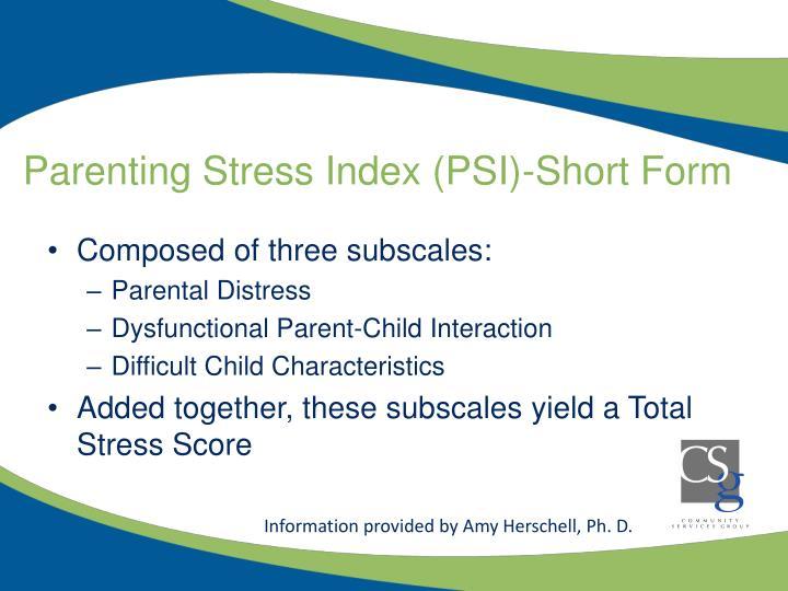 Parenting Stress Index (PSI)-Short Form