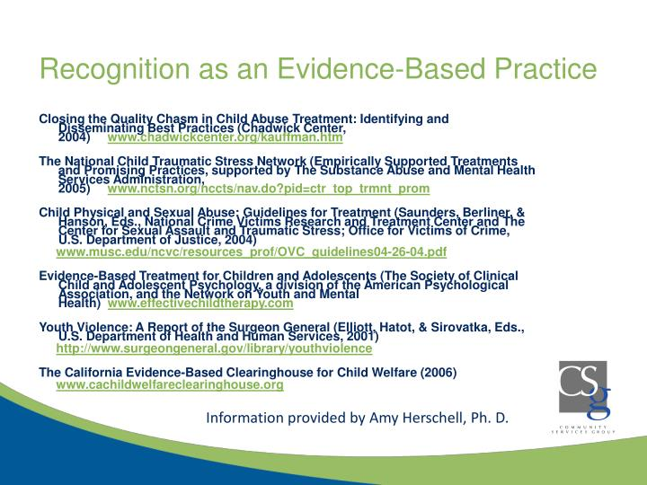 Recognition as an Evidence-Based Practice