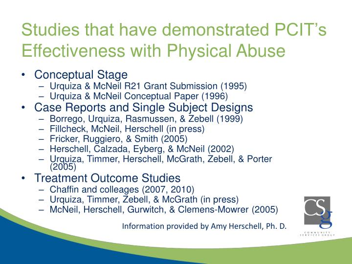 Studies that have demonstrated PCIT's Effectiveness with Physical Abuse