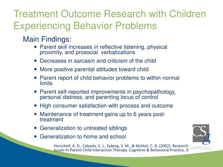 Treatment Outcome Research with Children Experiencing Behavior Problems