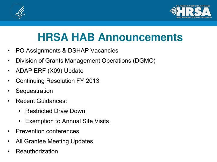 HRSA HAB Announcements