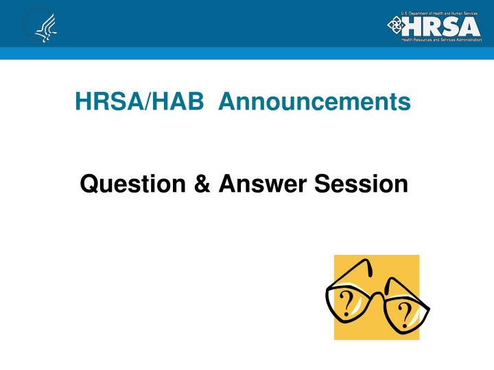 HRSA/HAB  Announcements
