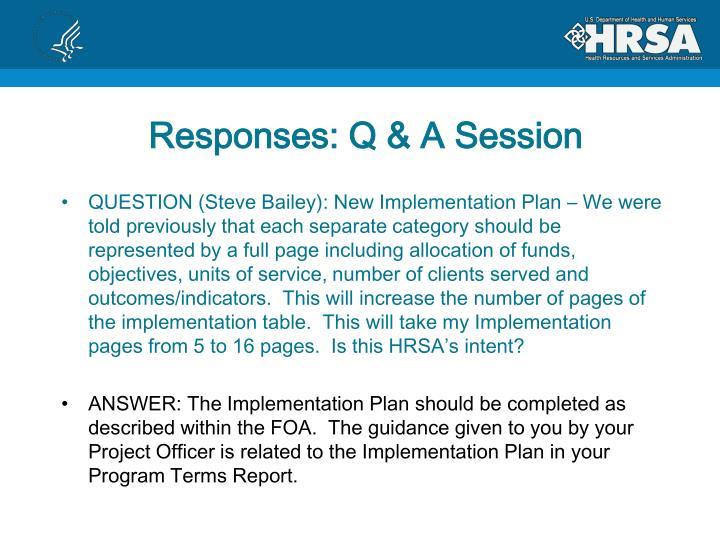 Responses: Q & A Session