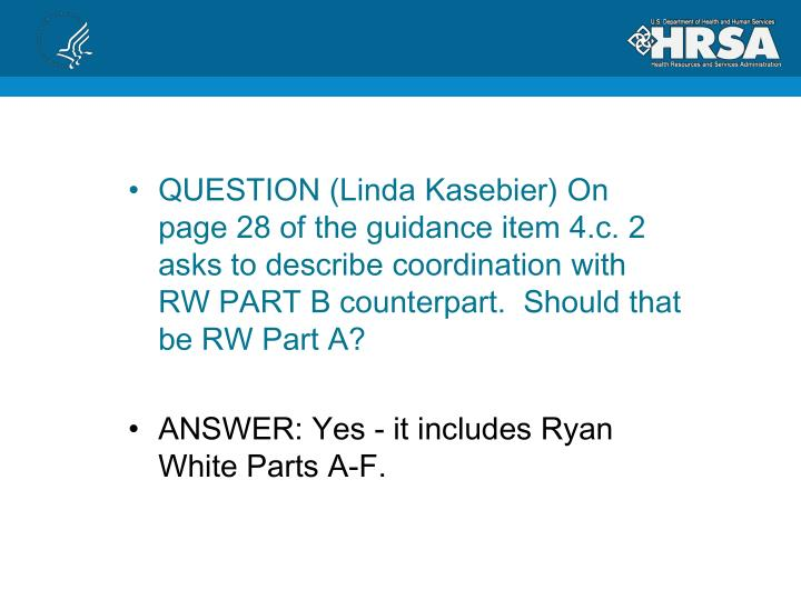 QUESTION (Linda Kasebier)