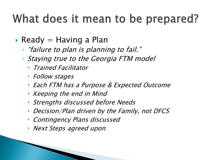 What does it mean to be prepared?
