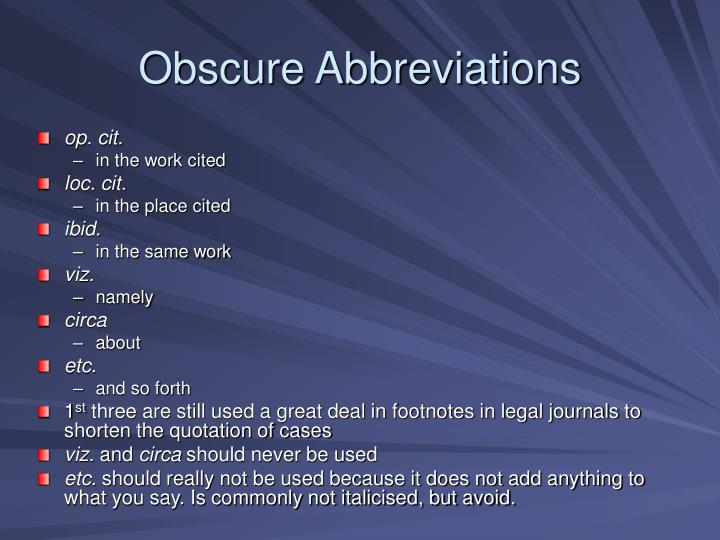 Obscure Abbreviations