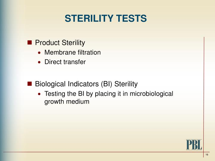 STERILITY TESTS