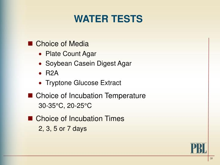 WATER TESTS