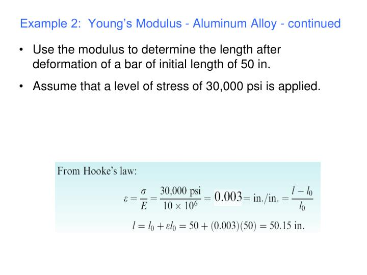 Example 2:  Young's Modulus - Aluminum Alloy - continued