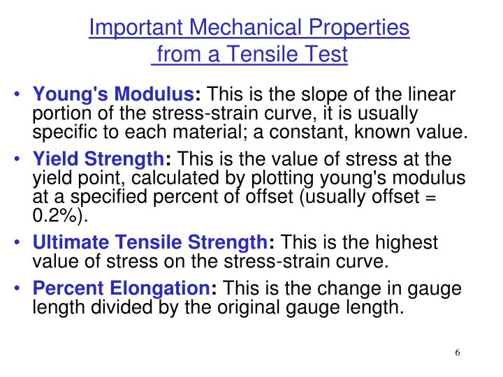 Important Mechanical Properties