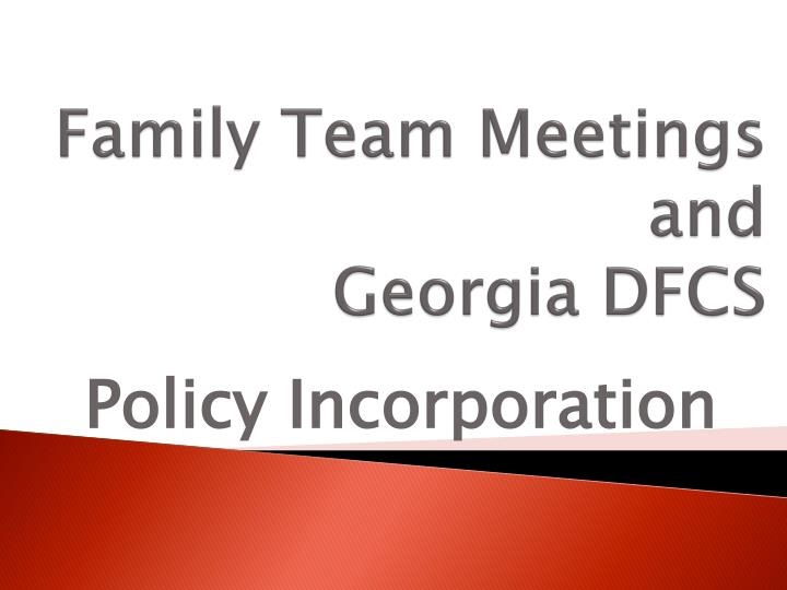 family team meetings and georgia dfcs