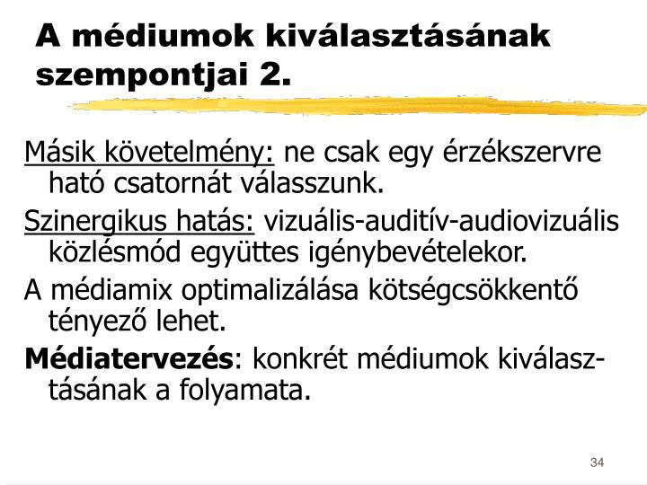 A médiumok kiválasztásának szempontjai 2.