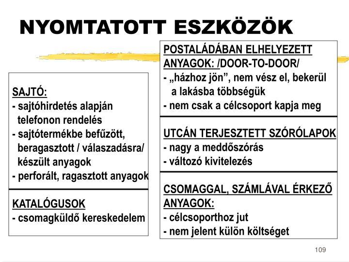 NYOMTATOTT ESZKÖZÖK