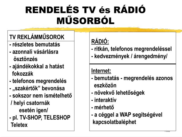 RENDELÉS TV és RÁDIÓ MŰSORBÓL