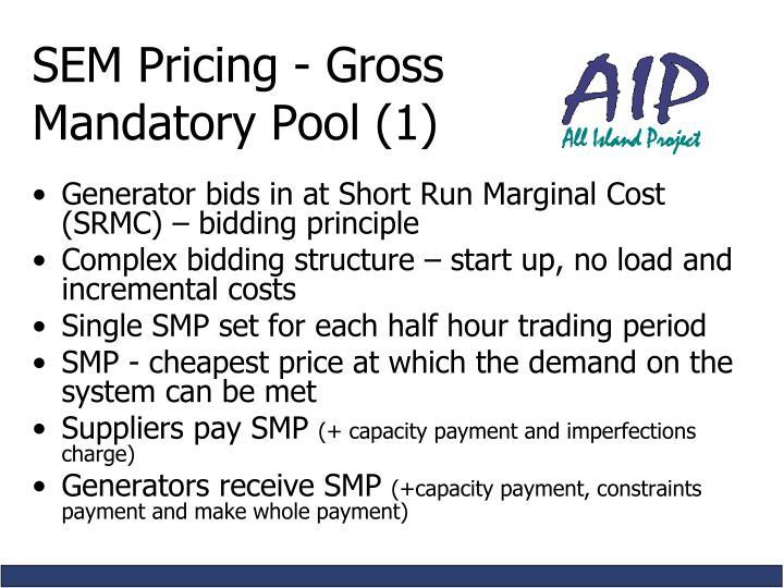SEM Pricing - Gross         Mandatory Pool (1)