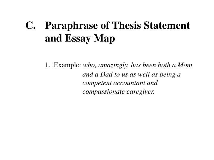 Paraphrase of Thesis Statement