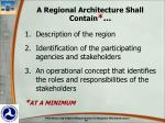 a regional architecture shall contain