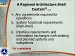 a regional architecture shall contain1