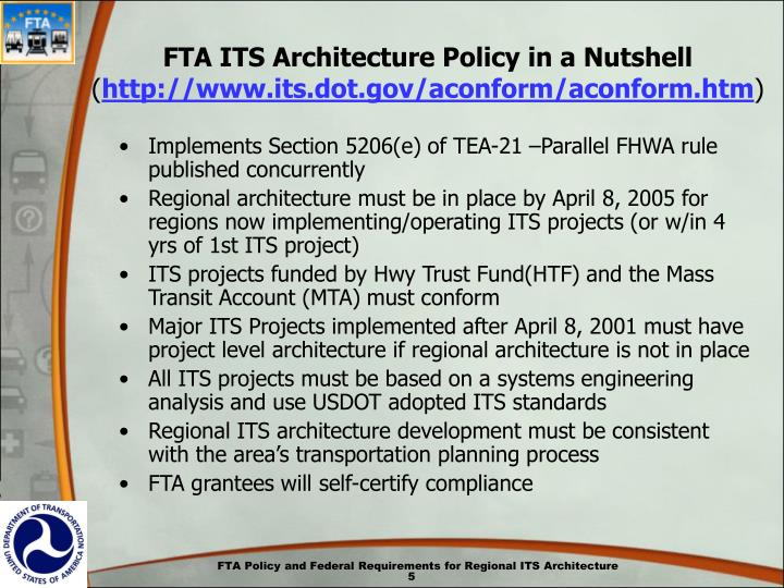 FTA ITS Architecture Policy in a Nutshell