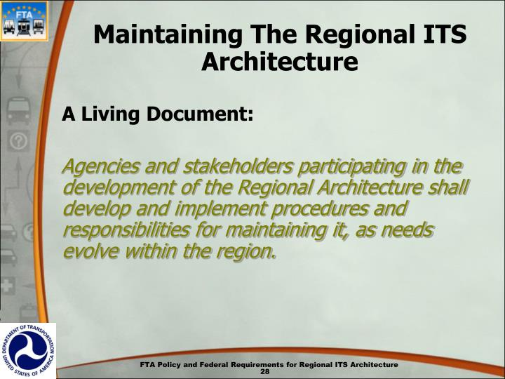 Maintaining The Regional ITS Architecture