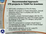 recommended approach its projects in team for grantees
