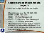 recommended checks for its projects1