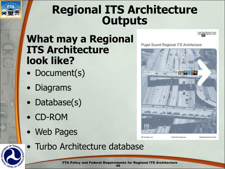 Regional ITS Architecture Outputs