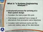 what is a systems engineering analysis