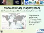 mapa deklinacji magnetycznej