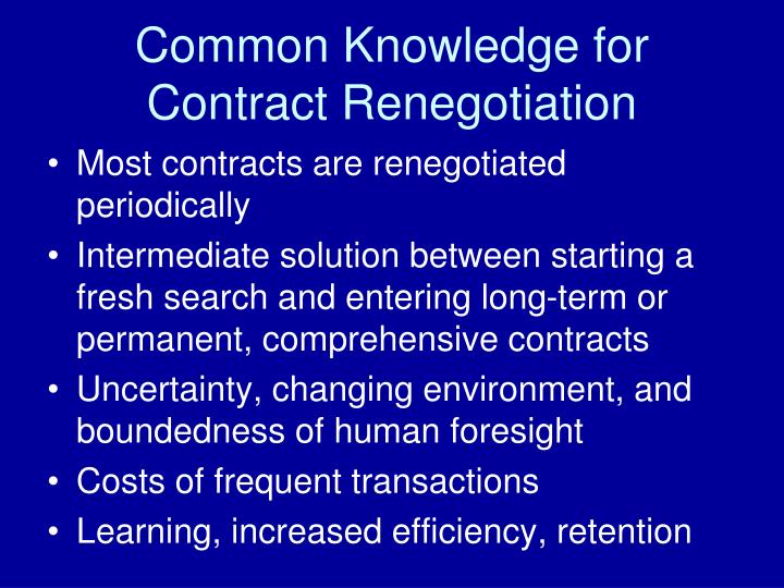 Common Knowledge for Contract Renegotiation