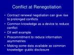 conflict at renegotiation