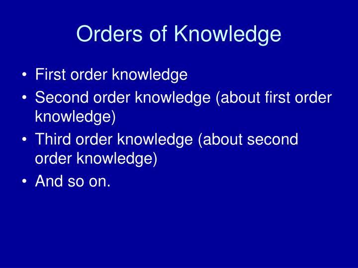 Orders of Knowledge