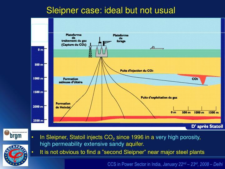 Sleipner case: ideal but not usual