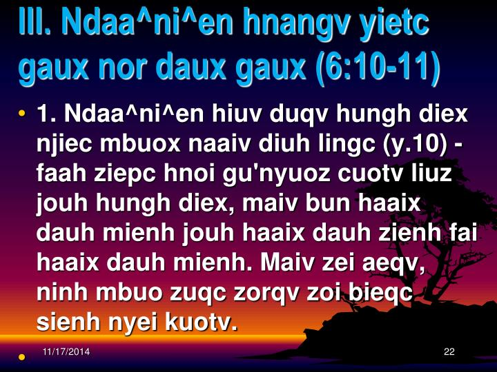 III. Ndaa^ni^en hnangv yietc gaux