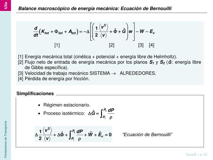Balance macroscópico de energía mecánica: Ecuación de Bernouilli
