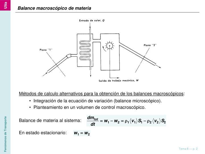 Balance macroscópico de materia