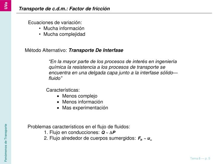 Transporte de c.d.m.: Factor de fricción