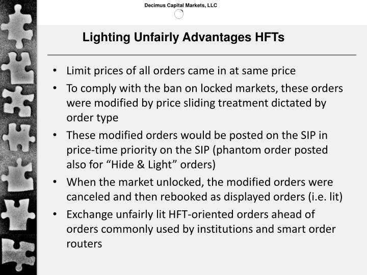 Lighting Unfairly Advantages HFTs