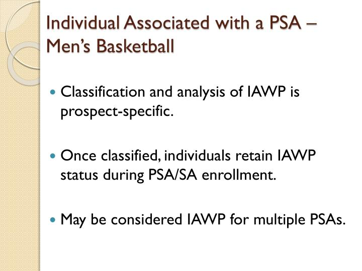 Individual Associated with a PSA – Men's Basketball
