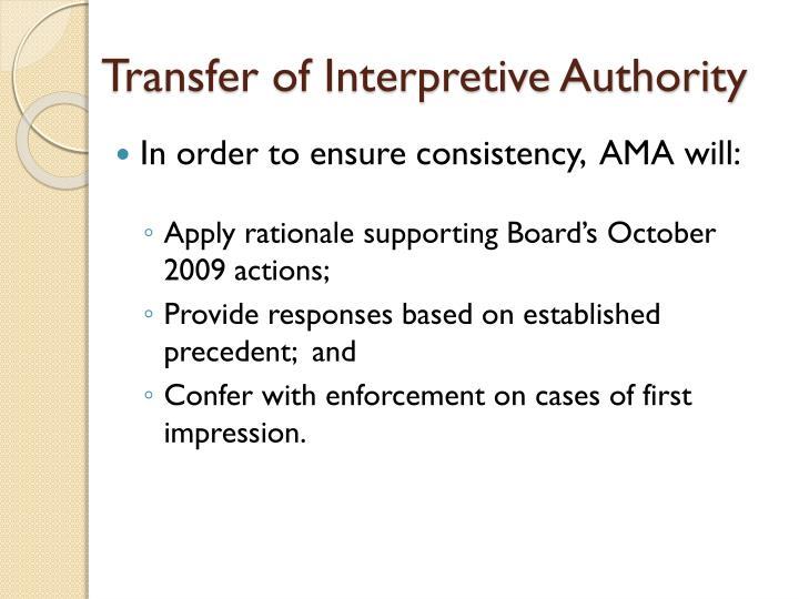 Transfer of Interpretive Authority