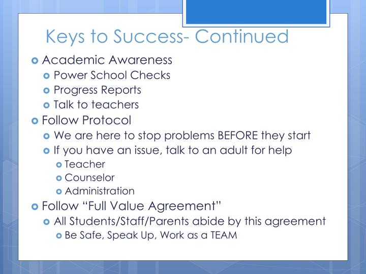 Keys to Success- Continued