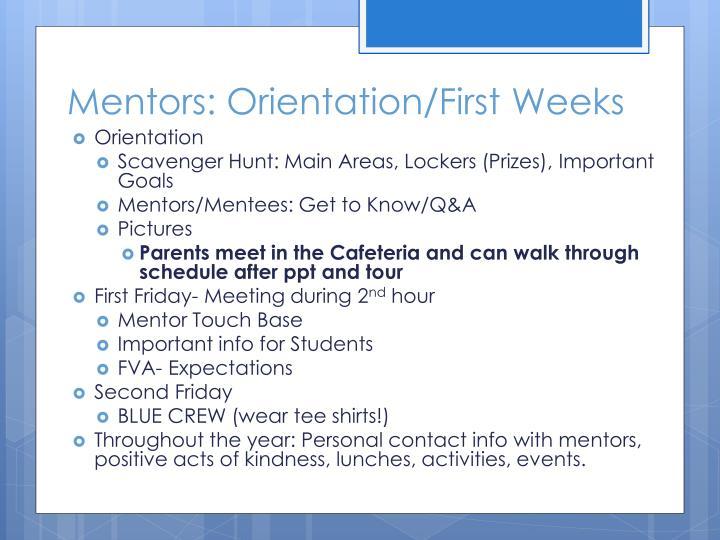 Mentors: Orientation/First Weeks