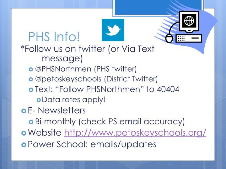 PHS Info!