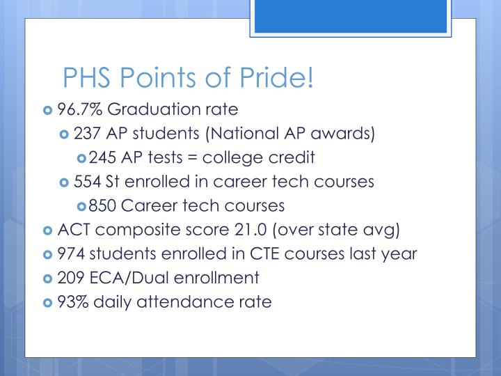 PHS Points of Pride!