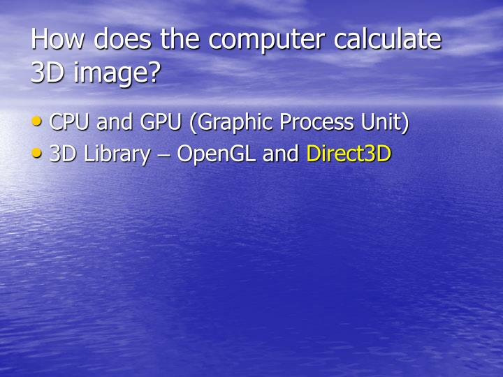 How does the computer calculate 3D image?